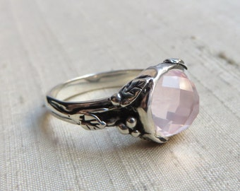 Rose Quartz and Sterling Woodland Vine Ring