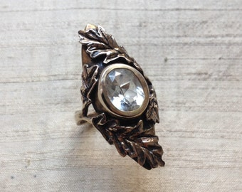 The Oak Leaf Ring- White Topaz and Bronze