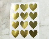 48 Gold Heart Stickers, Heart Labels, Valentine's Day Stickers, Valentines Stickers, Envelope Seals, Gift Wrapping, Gold Stickers