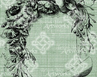 Digital Download Floral Scroll Frame Border, flowers foliage and leaves, digi stamp, Antique Illustration Add Photos or Text