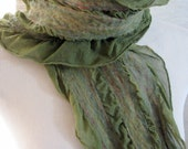 Ruffle Scarves, Nuno Felted Silk Scarf, Felt Scarf, Neckwarmer, Gift for Her, Moss Silk and Merino Wool 1335