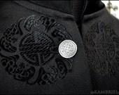 One of a Kind Black Silk Bat Brocade Opiate Jacket - Brand New by Kambriel