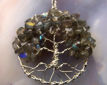 Labradorite Tree of Life necklace pendant with chain - Labradorite Necklace - Labradorite pendant - Tree of Life pendant - Sterling SIlver