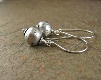 Sterling Silver Earrings, Silver Dangle Earrings, Hammered Silver Earrings, Earrings With Silver Beads, Simple Earrings, Long Silver Earings