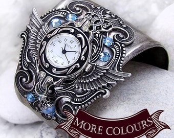 Silver Wings Watch cuff Aquamarine Crystal women's Watch bracelet Gothic Jewelry watches for women watches for men wings bracelet gift