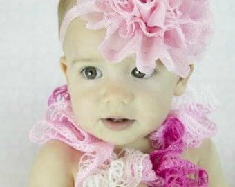 Pink  Flower Headband - Shabby frayed chiffon and lace flower headband - Girls Hair Band - Headband