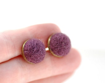 Plum Purple Stud Earrings, Felted Wool Earrings, Grape, Jeweltone Earrings, Aubergine, Fibre Jewelry, Post Earrings, Brass Studs