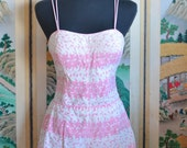 Vintage 1950s Rose Marie Reid Pink & White Pin Up Swimsuit Bathing Suit- Size M/L