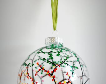 The Four Seasons Glass Ornament - Large Hand Painted Christmas Ornament
