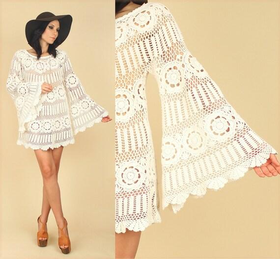 scalloped sheer crochet mini babydoll dolly dress bell sleeve. Black Bedroom Furniture Sets. Home Design Ideas