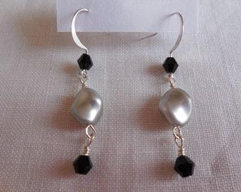 Silver and Black Swarovski Pearls Dangle Earrings