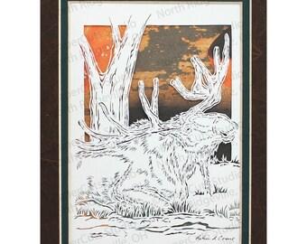 Moose Papercutting- Handcut Original