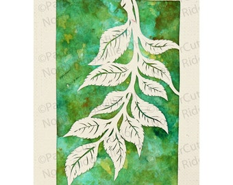 Branch Papercut ACEO, Handcut Original, Watercolor