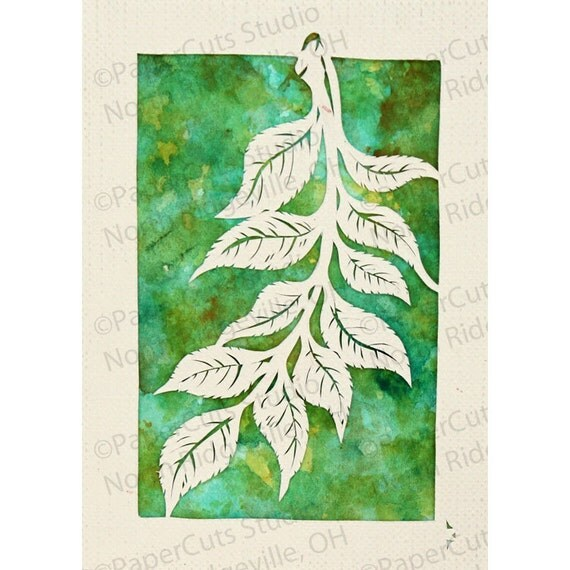 Branch Papercut ACEO, Handcut Original, Watercolor