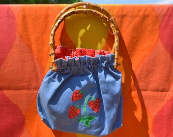 vintage 70's purse STRAWBERRIES applique country bamboo handle hand bag
