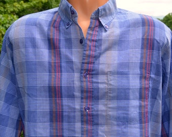 vintage 70s shirt PLAID blue button down preppy hipster Large wedgefield 80s