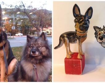 Custom pet Portrait set of TWO folk art dog sculptures for the pet lover
