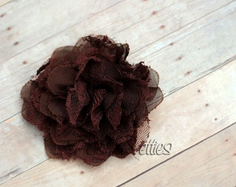Brown Flower Hair Clip  - Shabby Chiffon and Lace Flower - With or Without Rhinestone Center