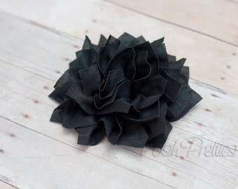 Black Flower Hair Clip - Lotus Blossom - With or Without Rhinestone Center