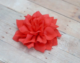 Coral Flower Hair Clip - Lotus Blossom - With or Without Rhinestone Center