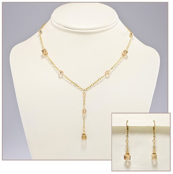 Champagne bridal jewelry set champagne bridesmaid jewelry for Jewelry for champagne wedding dress