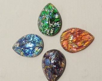 15mmx10mm Vintage Pear Shaped Foiled Preciosa Stone in 4 colors