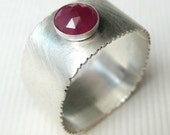 Rose Cut Ruby Ring, Wide Band Sterling Ring, Made to Order Ring, Personalized Ring, Rose Cut Ring