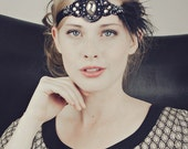 Roaring 20s Flapper Feather Headband Gatsby Style Silver And Black