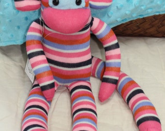 Sock Monkey - Pink and Blue