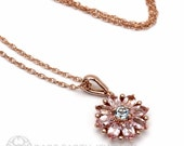 14K Flower Necklace Floral Pendant Pink Tourmaline Aquamarine 14K Bride Necklace Bridal October Birthstone