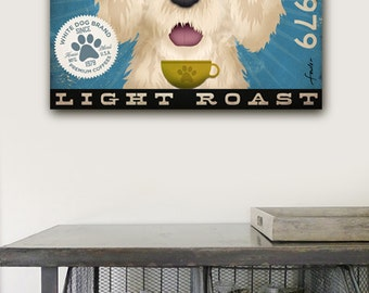 White Dog Coffee Company vintage style dog artwork on gallery wrapped canvas by Stephen Fowler