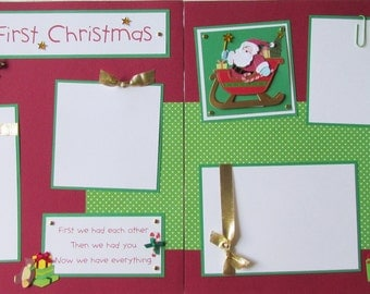Premade 12x12 Scrapbook Pages -- BABY'S FIRST CHRISTMAS layout -- baby GiRL, BoY, first holidays, 1st year album, Santa Claus, scrapbooking