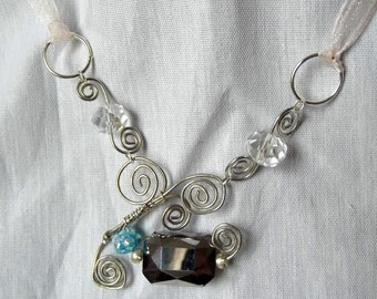 Wire Wrapped Beaded Necklace, Boho Choker, Modernist Silver, Aqua, Gray, Crystals, Swirls, Ribbon Tie