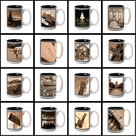 15 oz. Ceramic Coffee Mug with original Austin, Texas photography.  Pick any one. 16 to choose from.