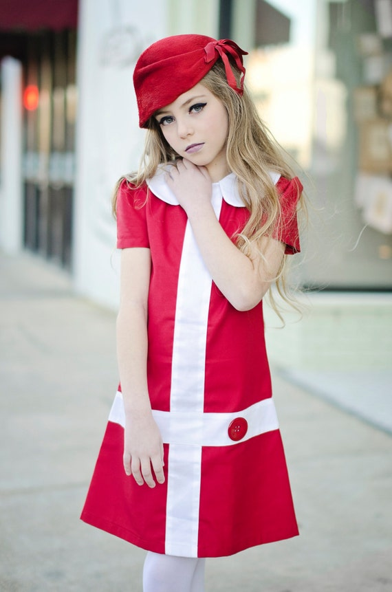 Retro 1960's style  Lauren.. red and white dress-children clothing Valentine