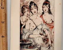 THREE BEAUTIFUL WOMEN , nudes ~ Luc Lafnet Hand Tinted Genuine Vintage 1930s Antique Etching Art Print [inv.#bZO 1