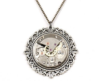 Steampunk Round Antiqued Silver Filigree Necklace with Authentic Vintage Watch Movement by Velvet Mechanism