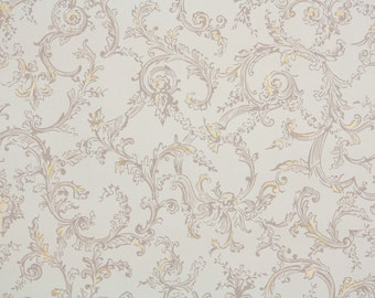 1950s Vintage Wallpaper by the Yard - Brown and Metallic Gold Swirls