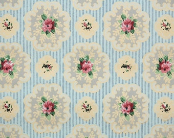 1930s Vintage Wallpaper by the Yard - Pink Roses and Rosebuds on Doilies and Tiny Blue Stripe