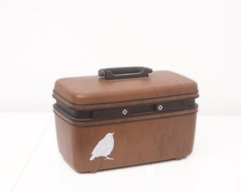 Upcycled Samsonite Train Case with Hand Painted Sparrow