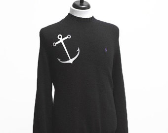 Men's Sweater / Upcycled Cotton Knit with Screen Printed Anchor / Size XL
