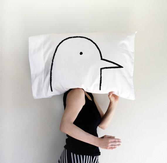 Funny Valentine Gift - Love Bird Pillowcase, single standard pillow case, Valentines Day gift for her, gag gift for bird lover decor