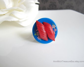 Japanese Sushi Food Miniature Kawaii Ring. Blue Floral Plate Ring Nickel Lead Free Antiqued Brass Ring. Birthday Gift. For Her
