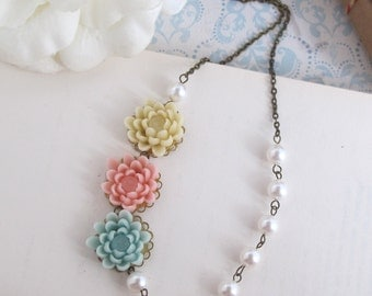 Pastel Bloom. Ivory, Pink, Blue Flowers. Swarovski White Pearls Floral Necklace Bridal Wedding Bridesmaid Jewelry. Nature, Vintage Inspired