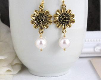 Modern Chandelier Dangle Earrings. Gold SunFlower and Swarovski Pearls Earrings. Modern Everyday. Bridesmaids Gift, Bridal Wedding Jewelry.