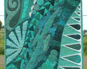 Quilted Art Wall Hanging - Doodles in Teal - Heirloom