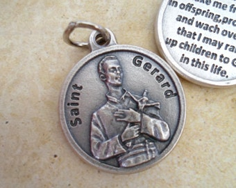 St. Gerard Fertility Prayer, The Mothers Saint,  Holy Medal Charm, Rosary Parts, Catholic Jewelry Supplies