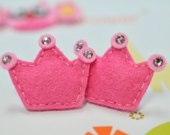 Set of 6cs handmade puffy felt crown--dark carnation (FT2151)