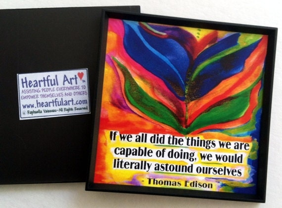 If We All Did THOMAS EDISON Magnet Inspirational QUOTE Motivational Print Kitchen Decor Graduation Saying Heartful Art by Raphaella Vaisseau