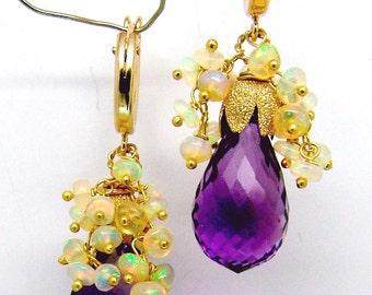 14K  gold hoop purple amethyst briolette ethiopian opal grape cluster earring in gold filled